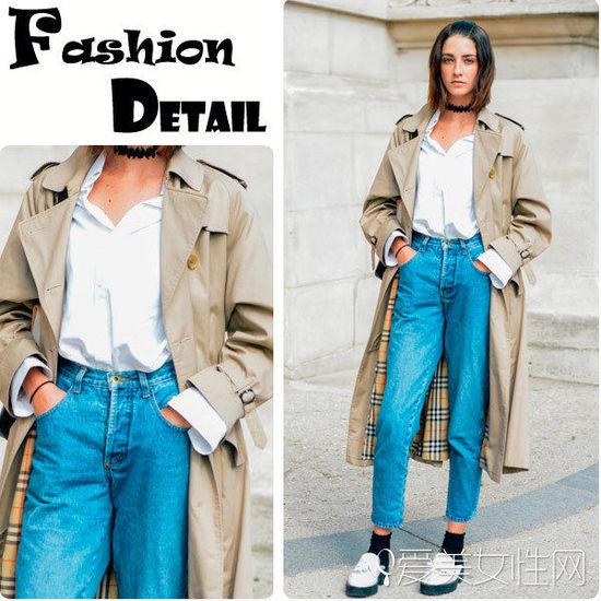 色衬衫+宽松款牛仔裤+风衣外套+白色单鞋-秋冬必备 一件风衣带你玩